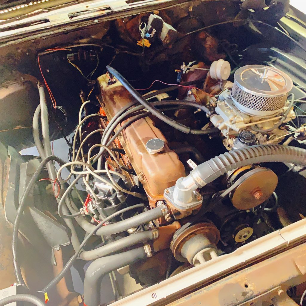 a pontiac 301 turbo setup sits on original 250 inline 6 in our chevelle